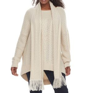 NWT Sonoma Size 1X Long Beige Sweater with Scarf